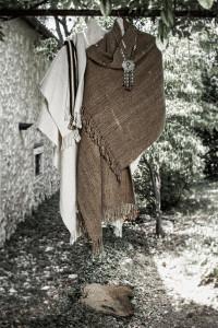 White and brown Portal ruana wraps, Rastra necklace